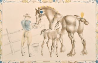 """John Skeaping (circa. 1945) 'Mare and Foal', lithograph, 20"""" x 30""""."""