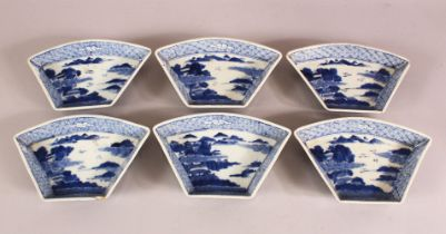 SET OF SIX 18TH / 19TH CENTURY BLUE & WHITE PORCELAIN SERVING DISHES - each decorated with landscape