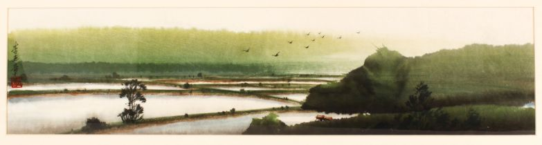 A CHINESE PAINTING OF A LANDSCAPE - the watercolour depicting fields - signed left section, framed -