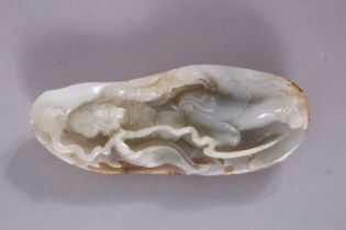 A GOOD CHINESE JADE CARVING, possibly of an immortal, 13cm x 5cm.