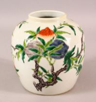 A CHINESE DOUCAI DECORATED PORCELAIN GINGER JAR - Decorate with scenes of fruiting trees - the