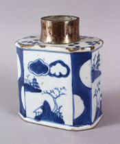 A CHINESE BLUE & WHITE PORCELAIN CADDY WITH A WHITE METAL MOUNT, the body of the caddy with