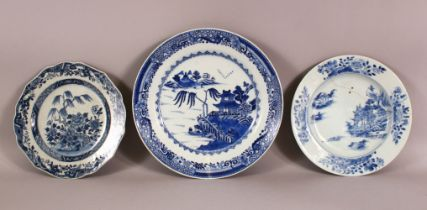 THREE 18TH / 19TH CENTURY BLUE & WHITE PORCELAIN PLATES - each with landscape views - two AF -