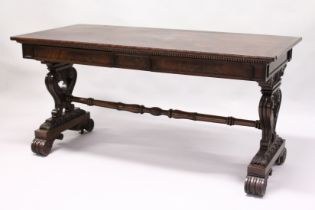 A VERY GOOD GILLOW MODEL RECTANGULAR TOP TABLE with plain top, two frieze drawers, carved and