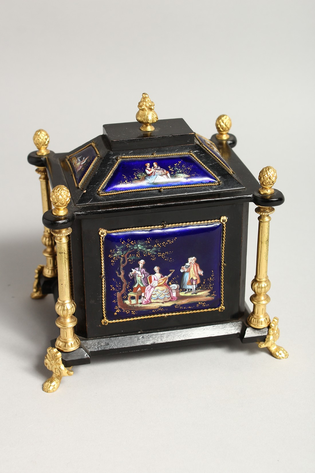 A VERY GOOD 19TH CENTURY LIMOGES CASKET with painted enamel panel, the door opening to reveal 2 - Image 5 of 7