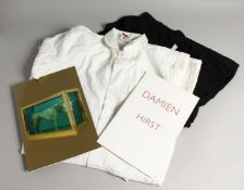 DAMIEN HIRST. A BOILER SUIT, T-SHIRT, AND CATALOGUES