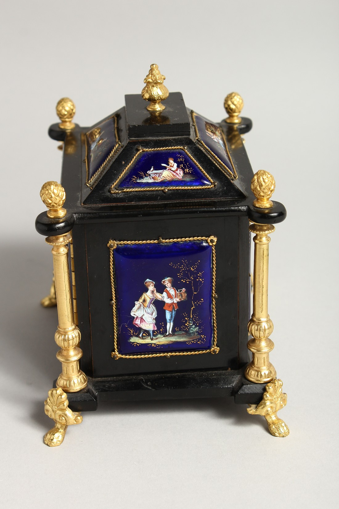 A VERY GOOD 19TH CENTURY LIMOGES CASKET with painted enamel panel, the door opening to reveal 2 - Image 4 of 7