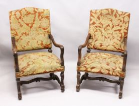 A GOOD PAIR OF 17TH CENTURY DESIGN WALNUT OPEN ARMCHAIRS, with needlework upholstered backs and