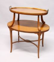A GOOD SHERETON REVIVAL SATINWOOD TWO TIER OVAL ETERGE with detachable two handled tray with glass