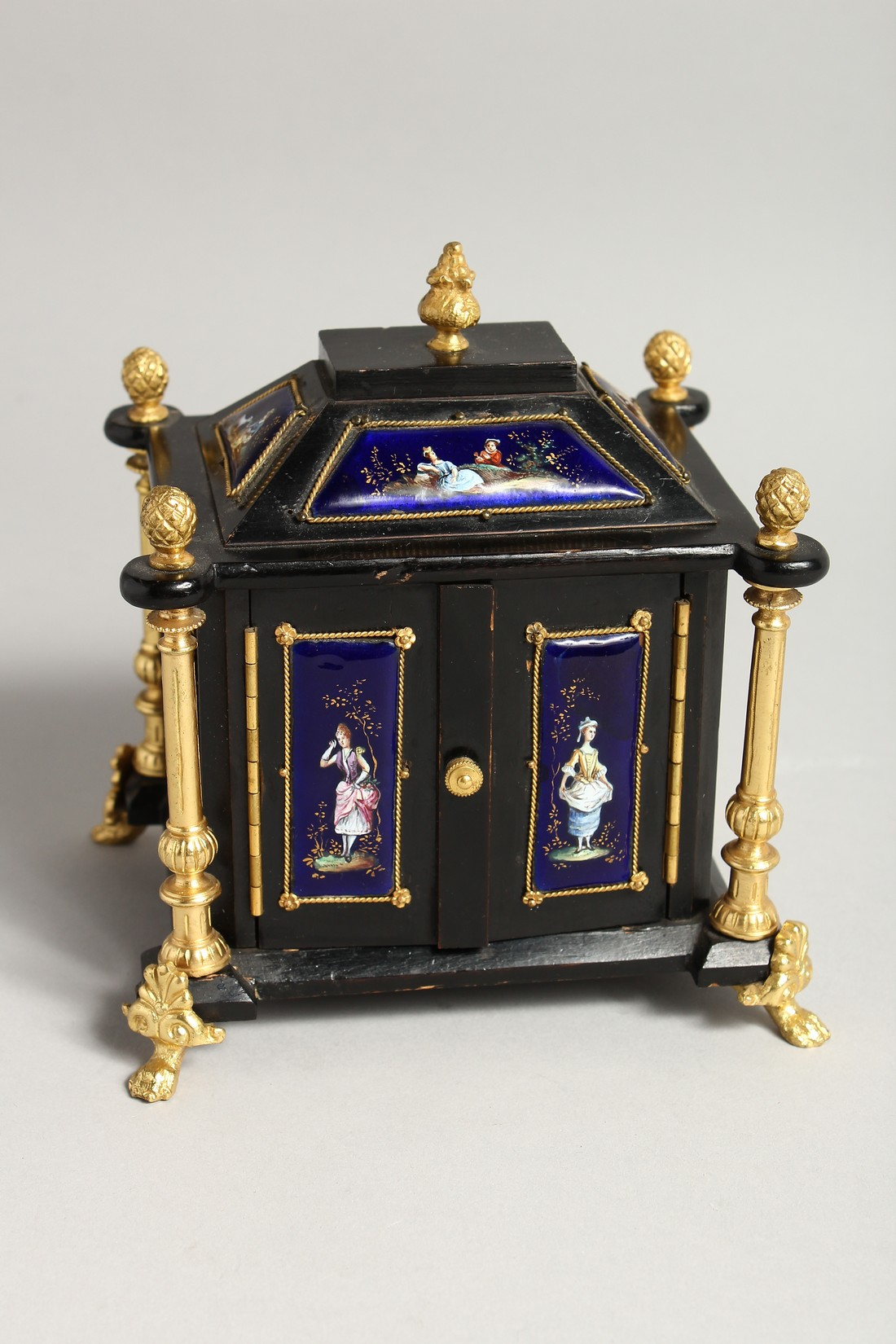 A VERY GOOD 19TH CENTURY LIMOGES CASKET with painted enamel panel, the door opening to reveal 2 - Image 3 of 7