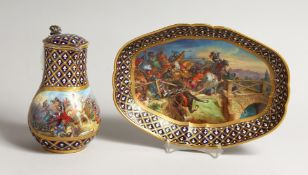 A SUPERB SEVRES PORCELAIN EWER AND OVAL DISH, blue ground painted with a battle scene, BAYARD