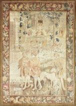 A GOOD 18TH CENTURY FRENCH TAPESTRY decorated with many figures within a floral border. 6ft high x