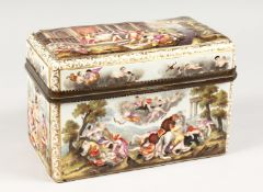 A GOOD CAPODIMONTE CASKET with classical figures in relief 9.5 ins wide.