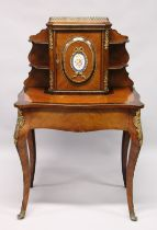 A LATE 19TH CENTURY FRENCH KINGWOOD, ROSEWOOD AND ORMOLU BONHEUR DU JOUR, the upper section with