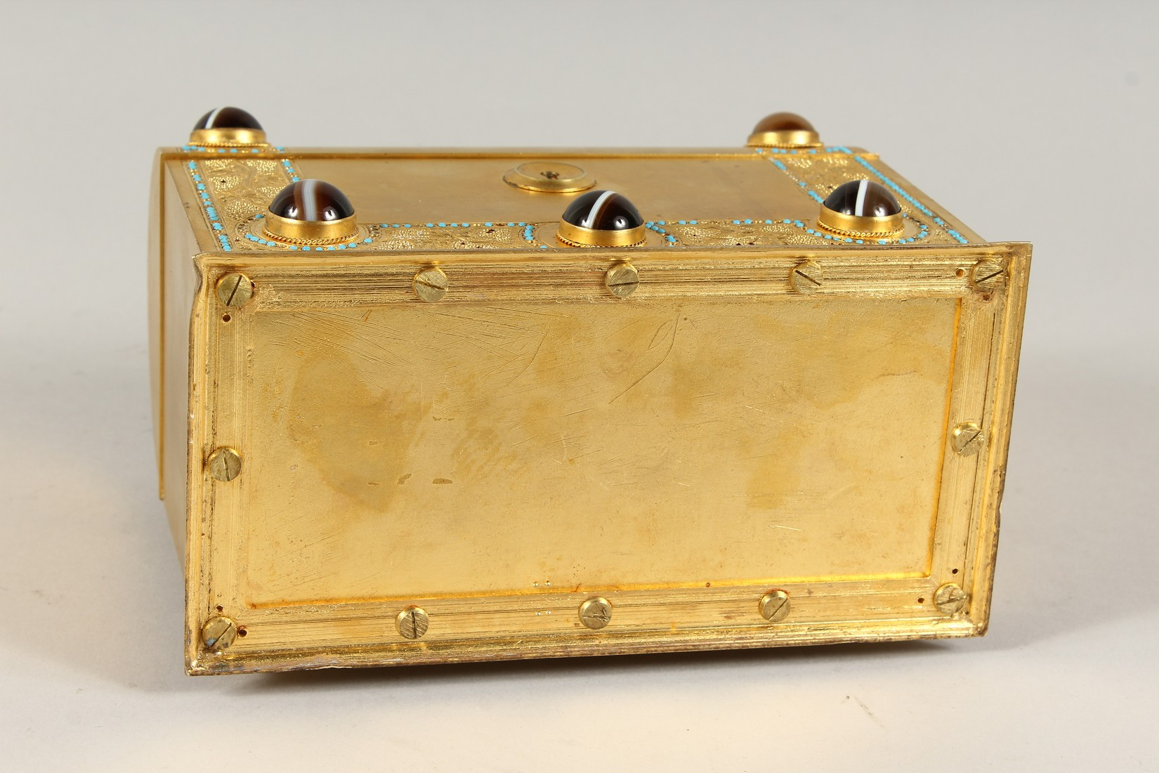 A GOOD 19TH CENTURY FRENCH BRASS DOMED SHAPED CASKET, inset with agate pieces opening to reveal a - Image 5 of 5