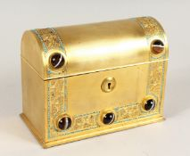 A GOOD 19TH CENTURY FRENCH BRASS DOMED SHAPED CASKET, inset with agate pieces opening to reveal a