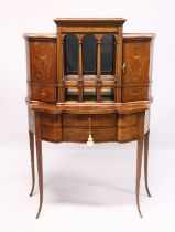 A VERY GOOD EDWARDIAN SHERATON REVIVAL SIDE CABINET, the upper section with a mirror back, galleried