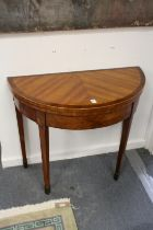 A GOOD GEORGE III SATINWOOD DEMI LUME FOLDING TOP CARD TABLE on tapering legs. 2ft 8ins wide.