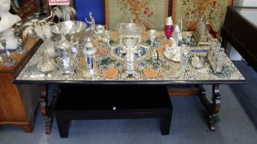 A SUPERB RECTANGULAR SPECIMAN ITALIAN MARBLE TOP TABLE on a wooden base. 7ft long, 3ft 10ins wide.