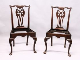 A GOOD PAIR OF GEORGE III MAHOGANY SINGLE CHAIR FRAMES, with carved cupids bow cresting rail,