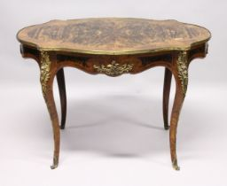 A 19TH CENTURY WALNUT, KINGWOOD AND ORMOLU MOUNTED CENTRE TABLE, with a quarter veneered and