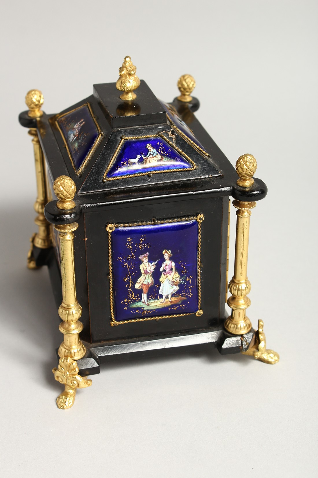 A VERY GOOD 19TH CENTURY LIMOGES CASKET with painted enamel panel, the door opening to reveal 2 - Image 6 of 7