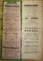 [CANADA] 2 theatre bills printed on silk: a) pink silk, green-bordered, advertising performances