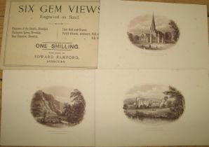 "[DOVEDALE] ""Six Gem Views Engraved on Steel,"" 6 prints, 15 x 22 cms, & envelope"