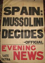 """[SPAIN POSTER] Evening News news-stand poster for October 8th 1938, """"Spain. Mussolini Decides,"""" 74 x"""