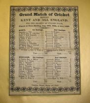 [CRICKET] printed silk score card for KENT v. ALL ENGLAND match, 1839, published by A. Austen,