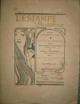 """MUCHA (A.) artist: printed periodical cover design for """"L'Estampe Moderne,"""" for July 1898 issue,"""