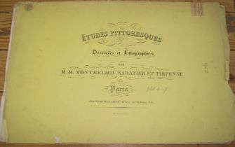 """[LITHOGRAPHS] """"Etudes Pittoresques,"""" 14 plates loose in 2 printed fascicules, 19th c."""