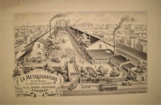 "[PRINTING / PRINT HISTORY] DAUBURG, artist: ""La Metallogravure, mono original artwork of a factory"