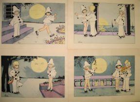 LENA, artist, 4 colour prints of clown children, 20 x 29cms, unframed (4)