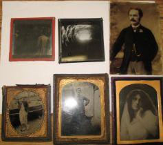 PHOTOGRAPHS, small q of cased portraits, glass slides, etc. (Q).