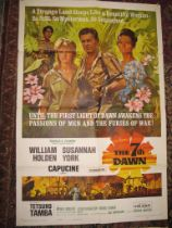 """[FILM POSTERS] The 7th Dawn, USA printing, 41 x 27 inches; """"Nine Hours to Rama"""", on 2 sheets, over"""