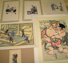 [ASIAN ART] misc. prints & artwork, incl. 2 Chinese pith or rice-paper paintings (6)