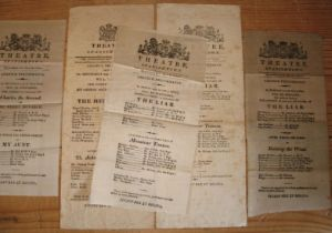 [JAMAICA] a fine series of 5 small theatre bils, 3 printed on silk (of which 1 is split in 3) and