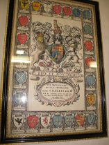 [ROYALTY] a fine 17th c. engraving, early colouring, of the Arms of Charles II, f & g, 42 x 28 cms.