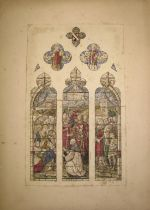 [STAINED GLASS] original watercolour design for the Hextall Window, Whitwick Church, mounted on