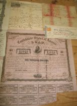 [AMERICANA] 3 x Confederate Loan certificates, a/f, dated 1861, 1863; & small q. of misc. & later