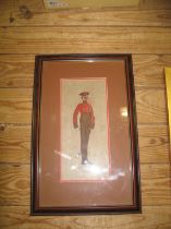 HASSALL (John) a hand-col'd woodblock print of a soldier, on canvas, the front of a calendar (see