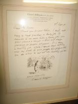 ARDIZZONE (Edward) artist & illustrator: a fine 1 p. a.l.s. with ink sketch, to Mr. Jenks, dated 9th