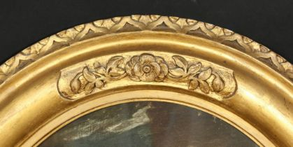 A carved wood oval frame, rebate size 24.5 x 19 , 32cm x 48cm.