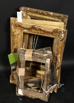 A group of eight smaller gilt composition frames and slips, various sizes.