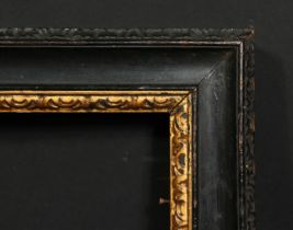 """An 18th century carved and ebonised frame with a gilded inner ornament, rebate size 16 x 20.25"""","""
