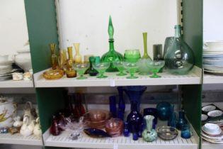 A quantity of colourful glassware.