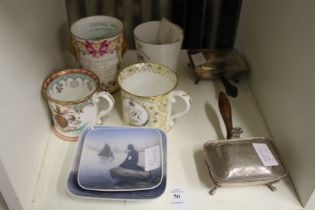Copenhagen and other decorative china and a pair of miniature plated warming dishes.