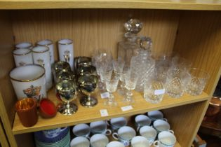 Cut glass ware, gilt decorated glasses, plated goblets etc.