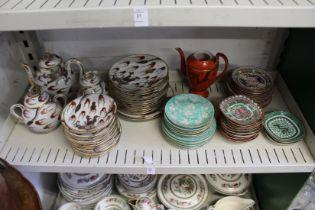 A shelf of oriental china.